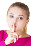 Hush be quiet woman isolated. Stock Photography
