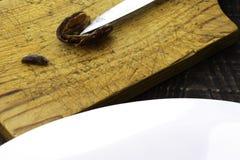 Hushaf - το γάλα ημερομηνίας, ένα παραδοσιακό πιάτο Ramadan, μαγείρεμα, συστατικά, περικοπή κοίλανε τις ημερομηνίες, ένα μαχαίρι  στοκ φωτογραφία
