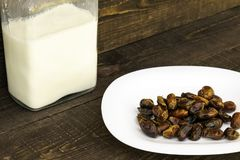 Hushaf - date milk, a traditional dish to Ramadan, cooking, ingredients, dates in a plate and milk in bottles are on the table stock photo