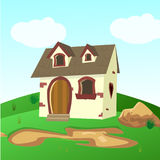 Husinsidagräsplan sätter in illustrationen av ett tecknad filmhus royaltyfri illustrationer