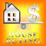 Husköpande som betyder den Real Estate 3d illustrationen Vektor Illustrationer