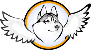 Huskies angel. Vector logo dog breed Siberian Husky Royalty Free Stock Photo