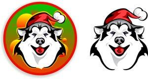Huskies - Santa Claus stock illustratie