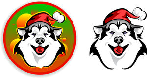 Huskies - Santa Claus. Vector drawing of the dog - Santa Claus Royalty Free Stock Images