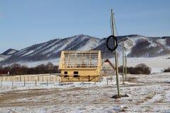 Huskonstruktion på den tilldelade platsen Royaltyfri Foto