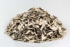 Husks of sunflower seeds. Royalty Free Stock Photography