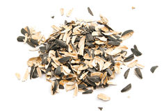 Husks of sunflower seeds. On white background Stock Images