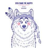 Husky cute. Stylish silhouettes cartoon cute dog husky dressed as an Indian. Vector illustration Stock Image