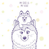 Husky dad with a son. Husky dad with a cute husky kid sitting on his head. Stylish silhouettes cartoon character Husky. Holiday, fathers day. Vector illustration Stock Images