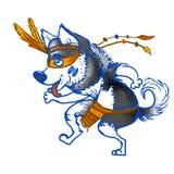 Husky del cane Ballo shamansky del husky Illustrazione 2018 del nuovo anno Cartolina d'auguri di un cane Animale domestico domest illustrazione vettoriale