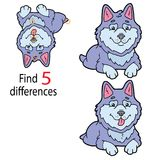 Husky differences. Vector illustration of kids puzzle educational game Find 5 differences for preschool children with  cartoon puppy Stock Photo