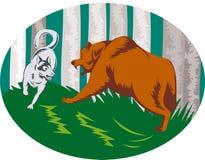 Husky dog attacking grizzly bear. Vector illustration of a Husky dog attacking grizzly bear Stock Photos