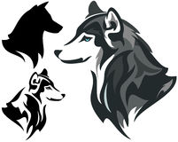 Husky dog. Design - animal head side view illustration in color and monochrome plus silhouette