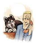 Husky dog at home. Humor illustration of husky dog siting and his owner phone calling Stock Image