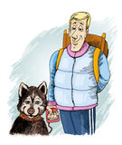 Husky dog and owner. Humor illustration of husky dog and his owner Royalty Free Stock Images