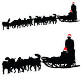 Husky dog pulling sled New Year vector Stock Photo