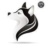 Husky głowy profilu logo Akcyjna wektorowa ilustracja alaski pies Zdjęcie Stock
