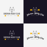 Husky head flat logo  set. Set of vintage logo and logotype elements for pet shop, pet house, pet and exotic animals clinic. Royalty Free Stock Photo