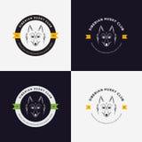 Husky head flat logo  set. Set of vintage logo and logotype elements for pet shop, pet house, pet and exotic animals clinic. Stock Image