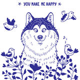 Husky positive. Stylish card with silhouettes cartoon cute dog husky with birds and flowers. Vector illustration Royalty Free Stock Photography