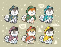 Husky puppies set in colorful raincoats. Cartoon vector illustration. Collection of cute siberian husky puppies in colorful raincoats. Different breeds of dogs Stock Photos