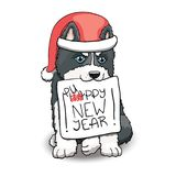 Husky Puppy With I Love You Sign. Cartoon Character Illustration. Husky Puppy Sitting Holding Happy New Year Sign. Cartoon Character Illustration Royalty Free Stock Photo