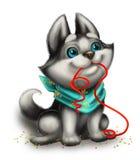 Husky Puppy Playing mignon, souriant et aimant avec Toy Ribbon - bonnes fêtes - personnage de dessin animé tiré par la main Images stock