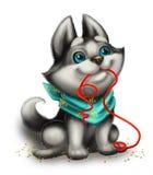Husky Puppy Playing mignon, souriant et aimant avec Toy Ribbon - bonnes fêtes - personnage de dessin animé tiré par la main Photo stock