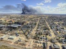 Husky Refinery dans le supérieur, le Wisconsin a éclaté en avril 2018 photo libre de droits