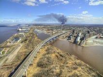Husky Refinery dans le supérieur, le Wisconsin a éclaté en avril 2018 image libre de droits