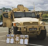 Husky Tactical Support Vehicle. A Husky Support Vehicle on show at the Armed Forces Day in Leith, Edinburgh, Scotland. There are three variants for this vehicle Royalty Free Stock Photos