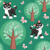 Husky and trees. Children`s seamless pattern in cartoon style with lovely puppies huskies. Vector background Royalty Free Stock Photography