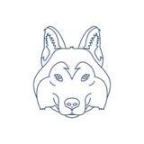 Husky or wolf head icon. Flat line illustration. Stock Image