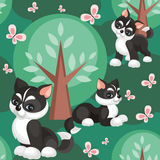 Husky in the woods. Children`s seamless pattern in cartoon style with lovely puppies huskies. Vector background Stock Images