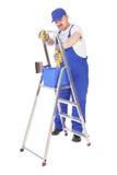 Husmålare och stege royaltyfri fotografi