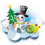 husmr s snowman Arkivfoton