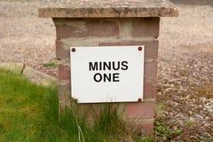 Husnummer negativ 1 tecken utanför egenskap arkivfoto