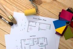 husplan med modeller av färger arkivbild