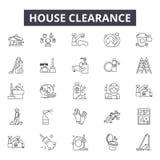 Husrensningslinjen symboler, tecken ställde in, vektorn Begrepp för husrensningsöversikt, illustration: rensning hus royaltyfri illustrationer