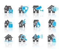 Hussäkerhetssymbol-blått stock illustrationer