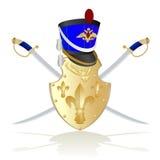 Hussar helmet, shield and sword Stock Image