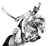 Hussar and horse. Drawing illustration of hussar with sword on the horse Stock Photography