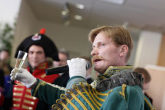 Hussar speaking toast Royalty Free Stock Image