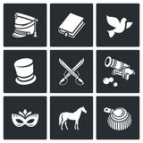 Hussars. The novel War and Peace icons set. Vector Illustration. Stock Image