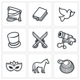 Hussars. The novel War and Peace icons set. Vector Illustration. Royalty Free Stock Photography