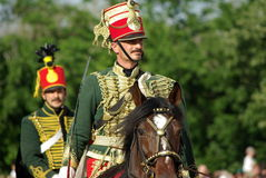 Hussars in period dress Royalty Free Stock Image