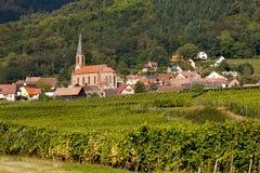 Husseren-les-chateaux in Alsace. Husseren-les-Chateaux village along the famous wine route in Alsace, France Stock Photo