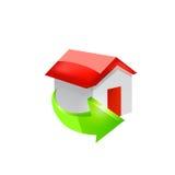 Hussymbol med den gröna pilen Arkivfoto