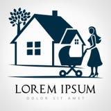 Hussymbol Moder med en barnvagn Royaltyfri Bild