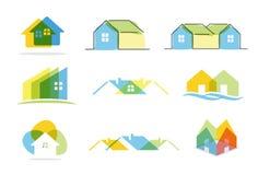 Hussymbol och fastighetlogo Arkivfoton
